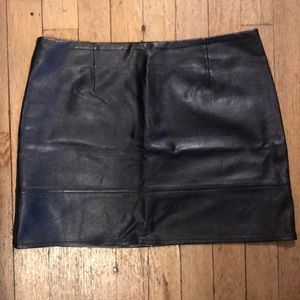 ASOS, leather mini skirt with stitch detail.